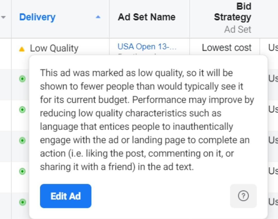 fix low quality facebook ad warning